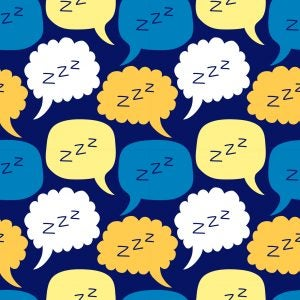 Cute seamless pattern with hand drawn cartoon sleeping zzz speech bubble ideal for kids pajama, bed linen design or bedroom wallpaper surface or fabrics print